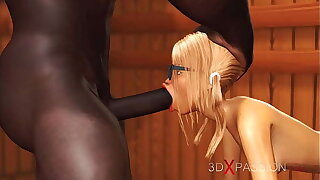 Hot nerdy girl in glasses gets fucked by black basketball player in sauna