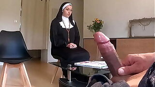 Pervert doctor poses a hidden camera in her waiting room ... he notices that she is not so good for a nun ...